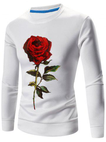3D Rose Imprimer Crew Long Neck Sweatshirt manches