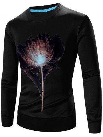 New Crew Neck Long Sleeve 3D Flower Print Sweatshirt