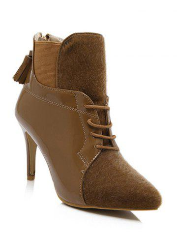 Chic Elastic Band Splicing Tassels Ankle Boots