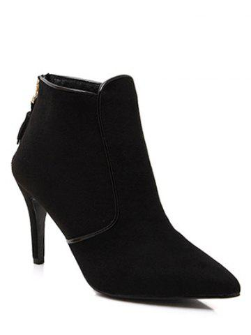 Discount Tassels Flock Zipper Ankle Boots BLACK 38