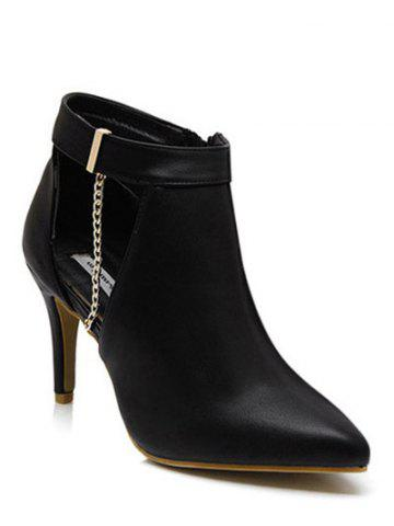 Outfits Chain Zipper Hollow Out Ankle Boots