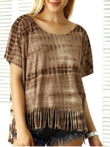 Cheap Batwing Sleeve Tie-Dyed Tassels T-Shirt