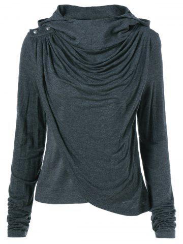 Shop Ruched Asymmetrical Hoodie