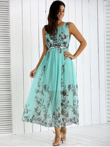 Fashion Flowers Print Belted Pleated Dress