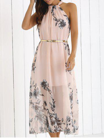 Blossom Print High Neck Chiffon Boho Summer Dress - Shallow Pink - M