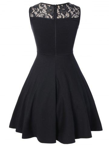 Best Sleeveless Lace A Line Party Skater Dress - L BLACK Mobile