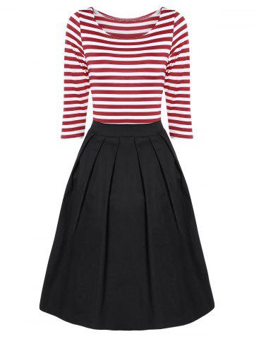 Unique Striped Pleated A Line Dress RED WITH WHITE M