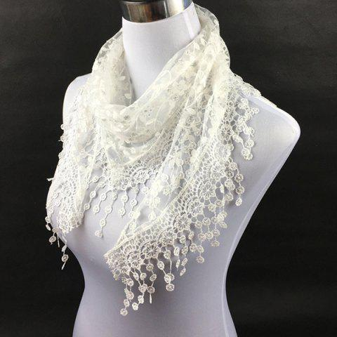Cheap Casual Wintersweet Embroidery Tassel Triangle Trim Lace Scarf - WHITE  Mobile