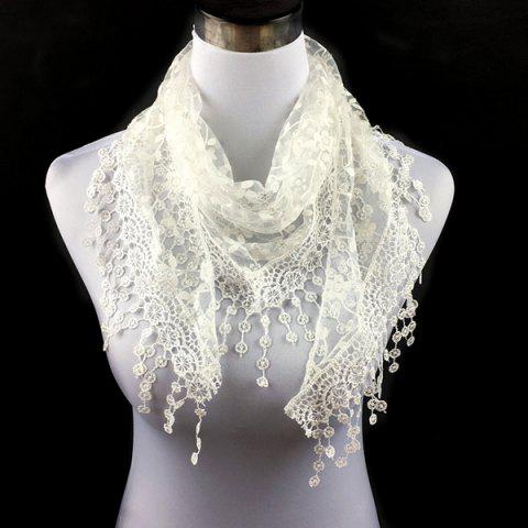 Fancy Casual Wintersweet Embroidery Tassel Triangle Trim Lace Scarf WHITE
