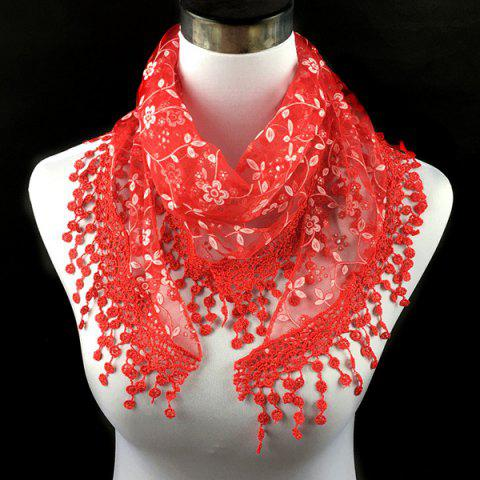 Fashion Casual Wintersweet Embroidery Tassel Triangle Trim Lace Scarf - RED  Mobile