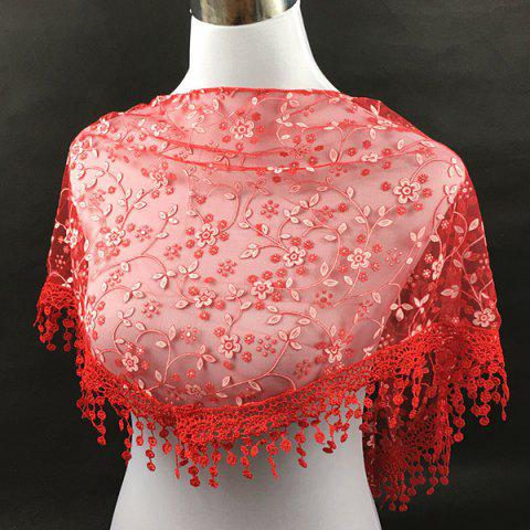 Cheap Casual Wintersweet Embroidery Tassel Triangle Trim Lace Scarf - RED  Mobile