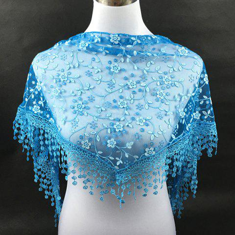 Chic Casual Wintersweet Embroidery Tassel Triangle Trim Lace Scarf - BLUE  Mobile