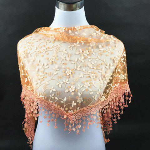 Affordable Casual Wintersweet Embroidery Tassel Triangle Trim Lace Scarf - ORANGE  Mobile