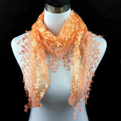 Latest Casual Wintersweet Embroidery Tassel Triangle Trim Lace Scarf - ORANGE  Mobile