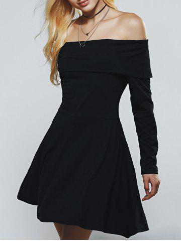 Cheap Off The Shoulder Long Sleeves A Line Skater Dress