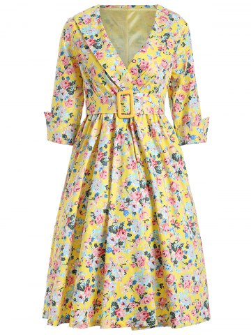 Shop Shawl Collar Floral Swing Wrap Dress YELLOW XL