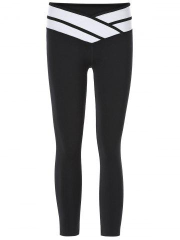 Latest Sporty Color Block Slimming Capri Pants For Women - L BLACK Mobile