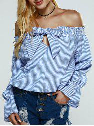 Off The Shoulder Vertical Stripe Bowknot Blouse -