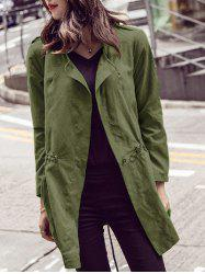 Long Sleeve Pure Color Trench Coat - ARMY GREEN