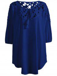Plus Size Asymmetric Lace Splice Crochet Blouse