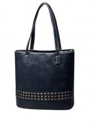 Textured PU Stitching Rivet Shoulder Bag -