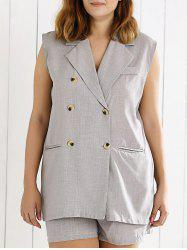 Double Breasted Sleeveless Vest and Shorts Suit - GRAY 4XL
