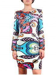 Jewel Neck Print Sheath Dress - MULTI XL
