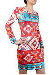 Geometric Print Colored Dress