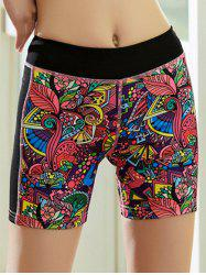 Tropical Print Quick Dry Sporty Shorts - RED