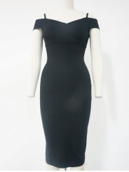 Spaghetti Strap Cold Shoulder Bodycon Dress - BLACK