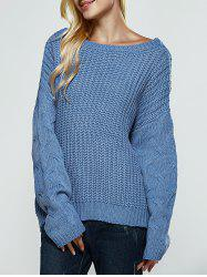 Textured Slit Open Back Sweater - WATER BLUE ONE SIZE