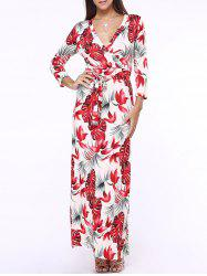 Plunge Neck Maxi Floral Print Long Sleeve Wrap Dress - RED 5XL