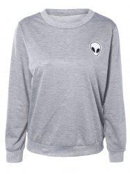 Skull Print Long Sleeve Sweatshirt - LIGHT GRAY L