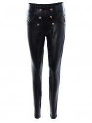 Beaded High Waist Slimming Leather Pants - BLACK 3XL