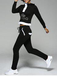 Crown Rhinestone Hoodie and Elastic Waist Pants Suit - BLACK