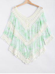 Crochet Floral Print Spliced Cut Out Cover-Up -