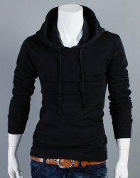 Slimming Drawstring Hooded Front Pocket Solid Color Long Sleeves Men's Thin Hoodie -