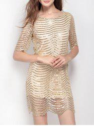 Backless Short Sequin Glitter Club Dress -