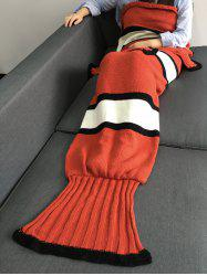 Super Soft Color Block Knitting Fish Tail Shape with Fins Design Blanket - SWEET ORANGE