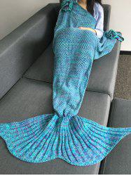 Warmth Flowers Decor Crocheted Knitted Mermaid Tail Shape Blanket