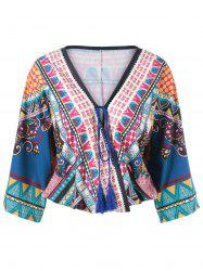 Ethnic Print Wrap Blouse -