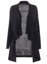 Lace Up Leather Patchwork volantée Cardigan - Gris Noir