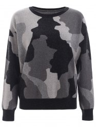 Round Neck Camo Print Knitted Pullover -