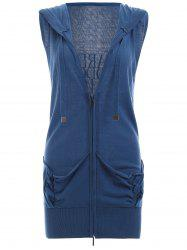 Back Letter Sleeveless Zipped Vest - BLUE
