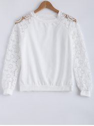 Lace Patchwork Hollow Out Sweatshirt - WHITE XL