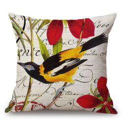 Country Style Bird and Flower Cushion Cover Pillow Case -