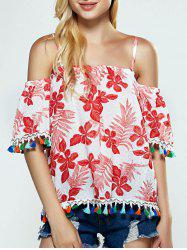 Floral Tassel Cold Shoulder Blouse -