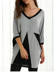 Color Block Batwing Sleeve Blouse