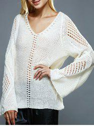 Bell Sleeves Openwork Knitted Sweater - OFF-WHITE