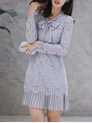 Bow Tie Long Sleeve Embroidery Lace Dress -
